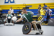 In this handout image provided by Jaguar Land Rover, Noah Galloway takes part in the Jaguar Land Rover celebrity wheelchair rugby exhibition match during the Invictus Games Toronto 2017 at Mattamy Athletic Centre on September 28, 2017 in Toronto, Canada.