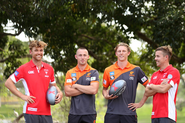 AFLX Media Opportunity [sports,team,team sport,youth,player,ball game,championship,competition event,recreation,competition,dane rampe,jake lloyd,lachie whitfield,tom scully,media opportunity,sydney,aflx,gws giants,sydney swans,launch]