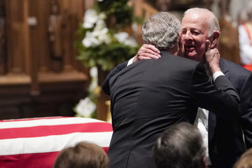 James Baker Family And Friends Attend A Funeral Service For Pres. George H.W. Bush In Houston
