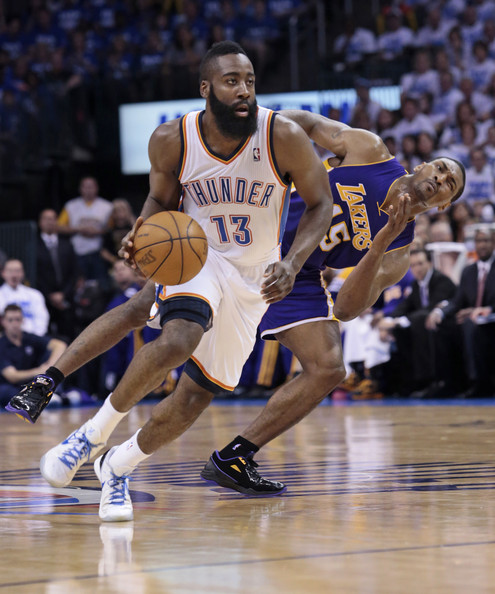 fb3e6e70478 James Harden and Metta World Peace Photos»Photostream · Pictures · Los  Angeles Lakers v Oklahoma City Thunder - Game Two