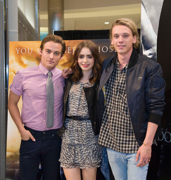 Jamie Campbell Bower Kevin Zeger, Lily Collins and Jamie Campbell Bower of Screen Gems's action-fantasy THE MORTAL INSTRUMENTS at Mall of America on July 28, 2013 in Bloomington, Minnesota.