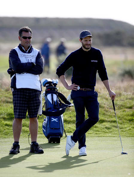 Alfred Dunhill Links Championship: Day 1 [golf,golfer,professional golfer,golf club,golf equipment,fourball,golf course,recreation,sport venue,sports equipment,jamie dornan,green,championship links,british,carnoustie,scotland,alfred dunhill links championship,round]