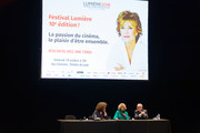 Thierry Fremaux (R) attends the Jane Fonda's (C) Masterclass At 10th Film Festival Lumiere on October 19, 2018 in Lyon, France.