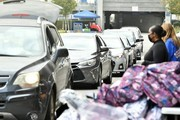 Cars lined up during #Wondalunch Food Giveaway hosted by Janelle Monae, Wondaland, Jidenna, Congresswoman Maxine Waters and Yara Shahidi at Los Angeles Southwest College on December 12, 2020 in Los Angeles, California.