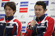 Kosuke Kitajima (R) speaks next to Ryosuke Irie during a press conference to announce the Japan swimming team for the London 2012 Olympic Games at the Ajinomoto National Training Center on April 9, 2012 in Tokyo, Japan.