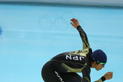 Speed Skater Keiichiro Nagashima of Japan skates during a training session ahead of the Sochi 2014 Winter Olympics at Adler Arena Skating Center on February 4, 2014 in Sochi, Russia.