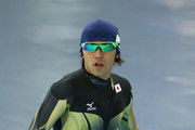 Speed Skater Keiichiro Nagashima of Japan looks on during a training session ahead of the Sochi 2014 Winter Olympics at Adler Arena Skating Center on February 4, 2014 in Sochi, Russia.