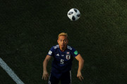 Yuto Nagatomo of Japan takes a throw in during the 2018 FIFA World Cup Russia group H match between Japan and Poland at Volgograd Arena on June 28, 2018 in Volgograd, Russia.