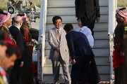 Japanese Prime Minister Shinzo Abe and wife Akie Abe are greeted as they arrive at Marka international airport on April 30, 2018 in Amman, Jordan. Abe is on a Middle East tour visiting the UAE, Jordan, Israel and the Palestinian territories.