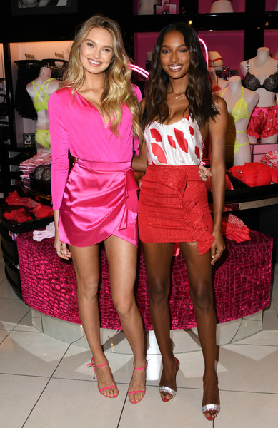 Victoria's Secret Angels Jasmine Tookes And Romee Stijd Celebrate Valentines Day [clothing,fashion,beauty,pink,human leg,leg,lady,thigh,footwear,model,jasmine tookes,angels,romee stijd,los angeles,california,victorias secret beverly center,victorias secret,romee stijd celebrate valentines day]