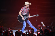 """Recording artist Jason Aldean performs during the launch of his three-night """"JASON ALDEAN: RIDE ALL NIGHT VEGAS"""" engagement at Park Theater at Park MGM on December 6, 2019 in Las Vegas, Nevada."""