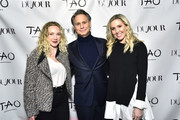 (L-R) Coco Knudson, Jason Binn and Kim Peiffer attend Jason Binn And DuJour Media Celebrate April Cover Star Giancarlo Stanton At TAO Downtown on March 26, 2019 in New York City.