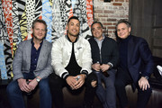Giancarlo Stanton (2nd L), Jason Binn (R) and guests attend Jason Binn And DuJour Media Celebrate April Cover Star Giancarlo Stanton At TAO Downtown on March 26, 2019 in New York City.