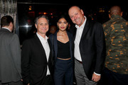 Jason Binn, Pritika Swarup and Thierry Prissert attend the DuJour Media celebration of the October Cover Star Clive Owen at PhD Lounge presented by Breitling's Thierry Prissert on October 10, 2019 in New York City.