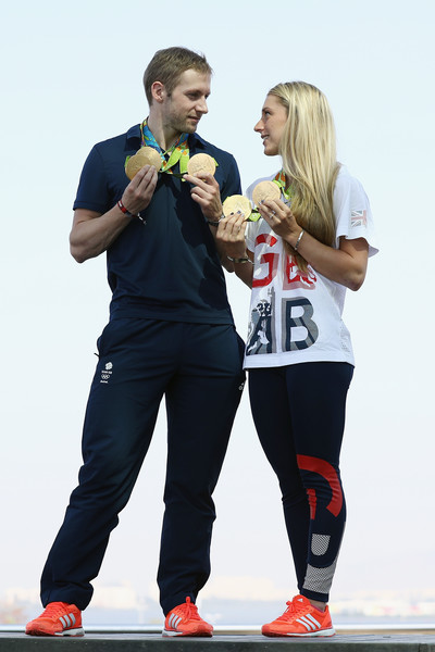 Laura Trott and Jason Kenny Media Access [red,recreation,muscle,photography,sportswear,trousers,physical fitness,gesture,laura trott,cyclists,jason kenny media access,jason kenny,gold medals,brazil,rio de janeiro,adidas house,team gb]