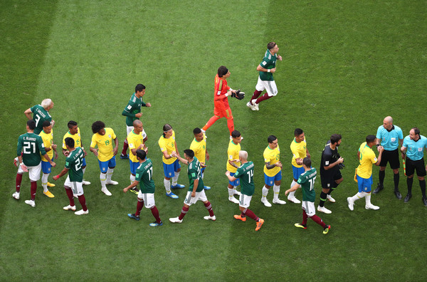Brazil vs. Mexico: Round of 16 - 2018 FIFA World Cup Russia [soccer player,football player,sport venue,team,team sport,player,football,stadium,soccer,soccer-specific stadium,players,hands,mexico,russia,samara arena,brazil,round,2018 fifa world cup,match]