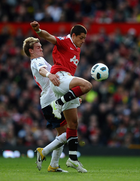 Javier Hernandez Javier Hernandez (R) of Manchester United battles with Stuart Holden of Bolton Wanderers during the Barclays Premier League match between Manchester United and Bolton Wanderers at Old Trafford on March 19, 2011 in Manchester, England.