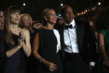 Jay-Z Beyonce Knowles The 55th Annual GRAMMY Awards - Backstage And Audience