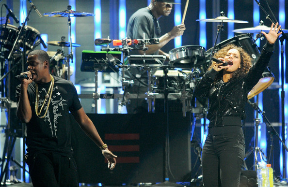 Jay-Z Rapper Jay-Z (L) and singer Alicia Keys perform onstage at the iHeartRadio Music Festival held at the MGM Grand Garden Arena on September 23, 2011 in Las Vegas, Nevada.