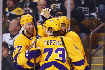 Jeff Carter Tyler Toffoli Los Angeles Kings v Boston Bruins
