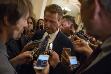 Jeff Flake Senate Lawmakers Address The Media After Their Weekly Policy Luncheons