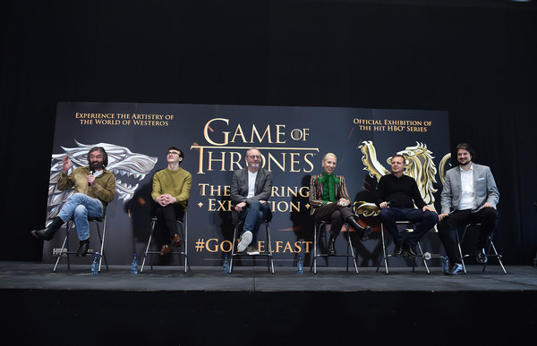 Game Of Thrones: The Touring Exhibtion - Press Conference [game of thrones: the touring exhibtion - press conference,game of thrones,event,stage,heater,competition,performance,performing arts,talent show,stage equipment,performance art,team,michele clapton,cast members,r,ian beattie,c,l,game of thrones: the touring exhibition,press conference]