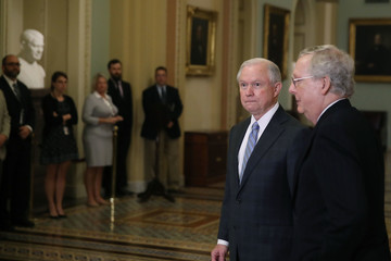 Jeff Sessions Sen. Mitch McConnell Meets With Trump's Attorney General Nominee Sen. Jeff Sessions