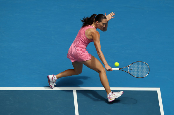 Jelena Jankovic Jelena Jankovic of Serbia plays a backhand in her first round match against Alla Kudryavtseva of Russia during day two of the 2011 Australian Open at Melbourne Park on January 18, 2011 in Melbourne, Australia.