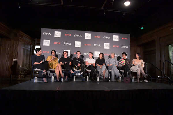 """Netflix """"Atypical"""" Season 3 Special Screening [season,stage,event,performance,heater,performing arts,stage equipment,musical theatre,performance art,talent show,music venue,robia rashid,stacey wilson hunt,keir gilchrist,amy okuda,atypical,l-r,screening,netflix,screening]"""