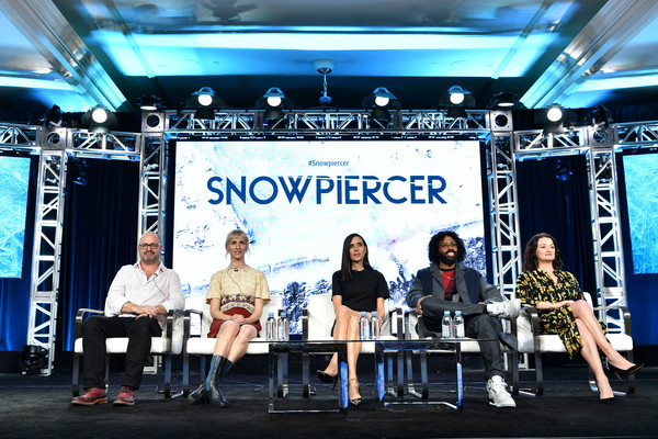 WarnerMedia Winter TCA 2020 - Presentation [snowpiercer,stage,stage equipment,event,performance,technology,electronic device,display device,talent show,world,news conference,mickey sumner,graeme manson,jennifer connelly,alison wright,presentation,warnermedia winter tca,l-r,pasadena,segment,stock photography,warnermedia,getty images,image,warner bros.,photograph]