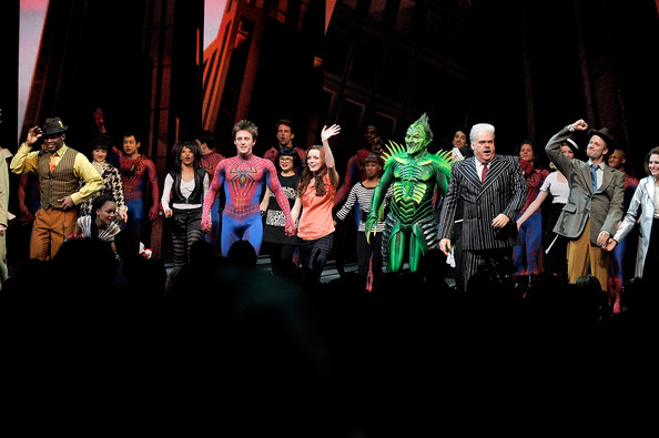 "Jennifer Damiano The cast during curtain call for ""Spider-Man Turn Off the Dark"" Return to Broadway first preview performance at the Foxwoods Theatre on May 12, 2011 in New York City."
