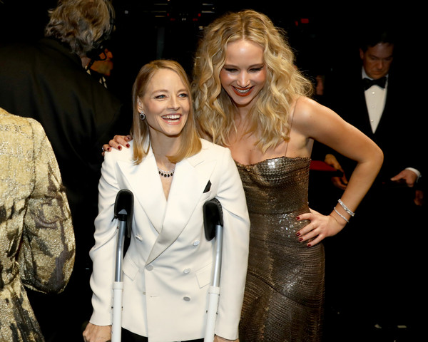 90th Annual Academy Awards - Backstage [handout,blond,fashion,event,dress,formal wear,cocktail dress,outerwear,fashion design,premiere,suit,jennifer lawrence,jodie foster,backstage,academy awards,california,hollywood,l,a.m.p.a.s.,90th annual academy awards]