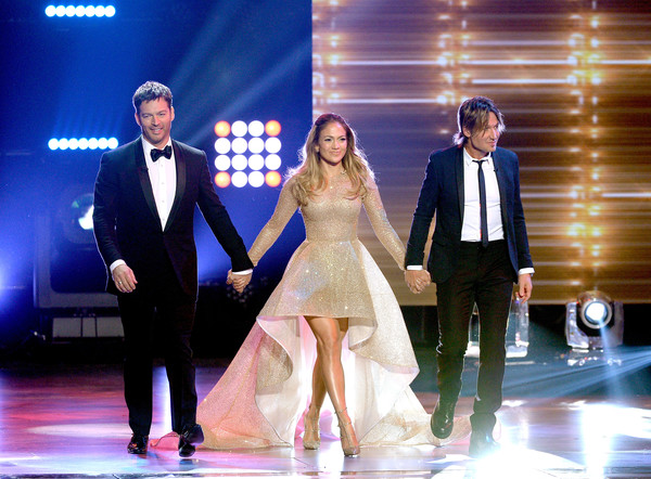 FOX's 'American Idol' Finale For The Farewell Season - Show [performance,fashion,event,formal wear,dress,fun,suit,wedding dress,performing arts,gown,artists,keith urban,jennifer lopez,harry connick jr.,l-r,hollywood,dolby theatre,california,fox,american idol finale for the farewell season - show]