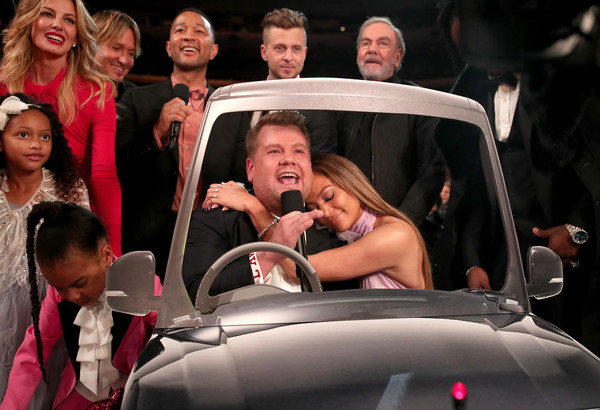 The 59th GRAMMY Awards -  Roaming Show [motor vehicle,people,social group,automotive design,fun,vehicle,car,event,smile,automotive exterior,l-r,grammy awards - roaming show,grammy,james corden,guest,ivy carter,john legend,faith hill,keith urban,jennifer lopez]