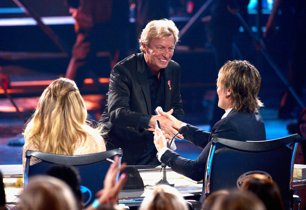 FOX's 'American Idol' Finale For The Farewell Season - Show [performance,event,yellow,stage,conversation,interaction,performing arts,audience,musician,singing,jennifer lopez,keith urban,nigel lythgoe,l-r,dolby theatre,california,hollywood,fox,american idol finale for the farewell season - show]