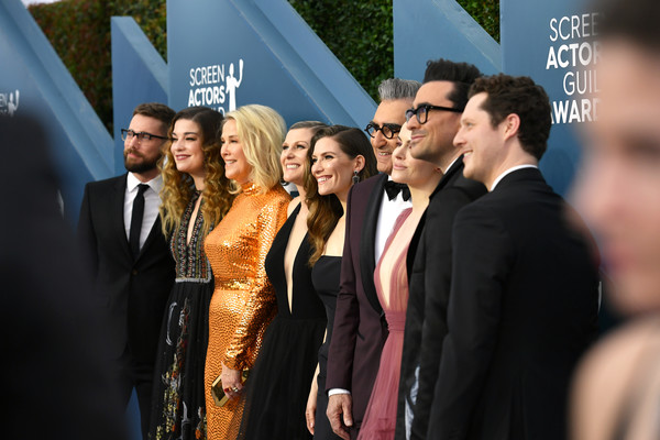 26th Annual Screen Actors Guild Awards - Red Carpet [red carpet,event,premiere,yellow,fashion,carpet,suit,flooring,white-collar worker,formal wear,red carpet,dustin milligan,eugene levy,sarah levy,dan levy,emily hampshire,annie murphy,jennifer robertson,screen actors guild awards,l-r,noah reid,sarah levy,dustin milligan,daniel levy,annie murphy,jennifer robertson,emily hampshire,eugene levy,catherine ohara,photography]