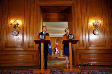 Jens Stoltenberg Theresa May Hosts The General Secretary Of NATO At Downing Street