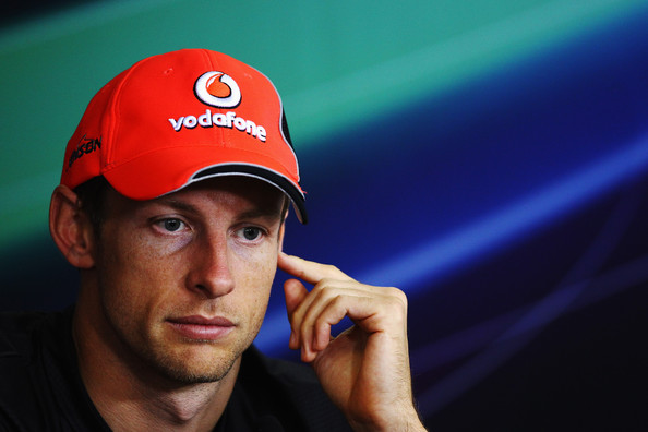 Jenson Button BUDAPEST, HUNGARY - JULY Jenson Button of Great Britain and McLaren attends the drivers press conference during previews to the Hungarian Formula One Grand Prix at the Hungaroring on July 28, 2011 in Budapest, Hungary.