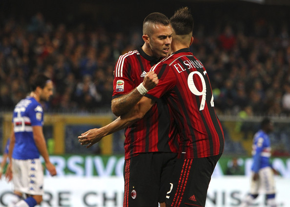 UC Sampdoria v AC Milan - Serie A [player,sports,sports equipment,team sport,ball game,football player,soccer player,sport venue,tournament,championship,jeremy menez,stephan el shaarawy,r,goal,stadio luigi ferraris,ac milan,uc sampdoria,serie a,l,match]