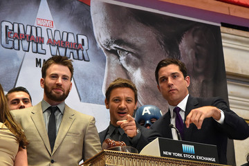 """Jeremy Renner Chris Evans Chris Evans and Jeremy Renner Ring The New York Stock Exchange Opening Bell To Promote Release Of """"Captain America: Civil War"""""""