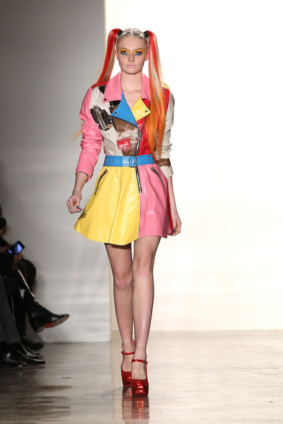 A model walks the runway at the Jeremy Scott Fall 2011 fashion show during Mercedes-Benz Fashion Week at Milk Studios on February 16, 2011 in New York City.
