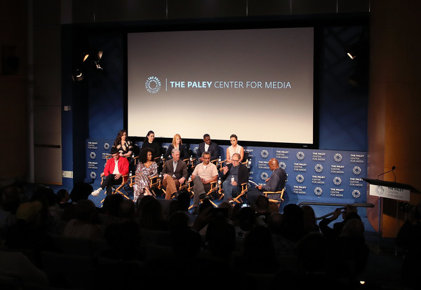 The Paley Center For Media's 2019 PaleyFest Fall TV Previews - CBS - Inside [paleyfest fall tv previews,all rise,projection screen,event,auditorium,convention,stage,academic conference,stage equipment,display device,technology,performance,wilson bethel,simone missick,kevin frazier,l-r,front row,paley center for media,cbs,inside]