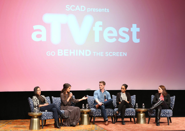 "SCAD Presents aTVfest  2016 - ""Sleepy Hollow"" [sleepy hollow,text,sky,event,youth,font,human,design,table,news conference,conversation,kim root,actors,lyndie greenwood,zach appelman,jessica camacho,nikki reed,l-r,scad presents atvfest,event]"