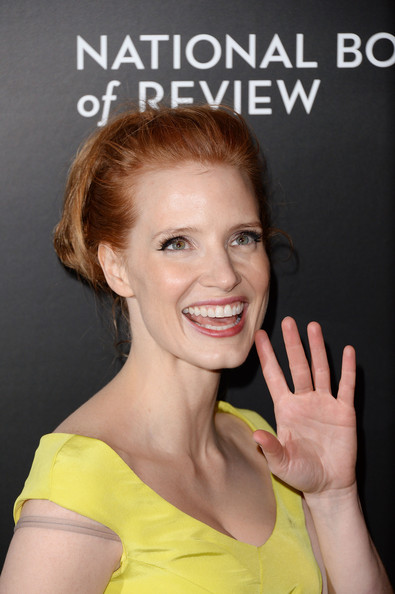 Stars at the National Board of Review Awards Gala [hair,face,skin,beauty,hairstyle,yellow,eyebrow,chin,smile,forehead,jessica chastain,stars,new york city,cipriani 42nd street,national board of review awards gala,national board of review awards gala]