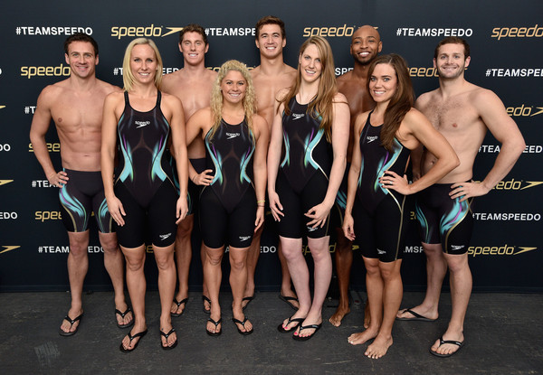 The New York Launch of Team Speedo and Speedo's Fastskin LZR Racer X [fastskin lzr,barechested,team,muscle,sports uniform,room,competition,competition event,physical fitness,ryan lochte,natalie coughlin,l-r,team speedo,back row,new york,speedo,racer x,launch]