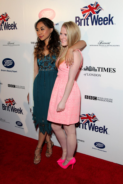 Arrivals at the BritWeek Launch Party  [red carpet,clothing,premiere,cocktail dress,dress,red carpet,carpet,footwear,event,flooring,singers,hollie cavanagh,jessica sanchez,residence,california,los angeles,britweek launch party,l]