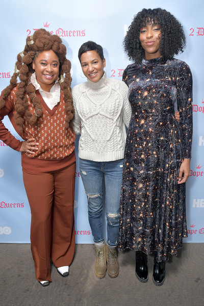 """HBO """"2 Dope Queens"""" Brunch And Conversation At Sundance 2019 [2 dope queens,clothing,fashion,hairstyle,fashion design,premiere,event,footwear,fun,outerwear,long hair,multicultural marketing,vp,jackie gagne,jessica williams,phoebe robinson,conversation,l-r,hbo,brunch]"""