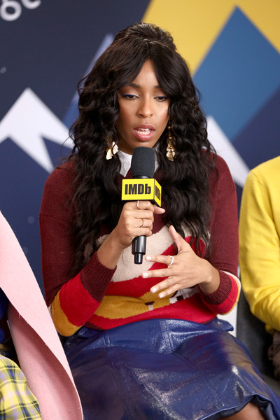 The IMDb Studio At Acura Festival Village On Location At The 2019 Sundance Film Festival – Day 4 [beauty,hairstyle,yellow,long hair,fashion,lip,sitting,model,brown hair,talent show,jessica williams,animals,location,acura festival village,utah,park city,imdb studio at acura festival village on location,imdb studio,sundance film festival]