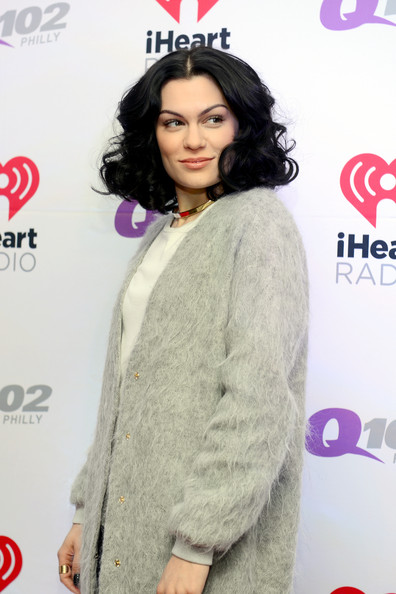 Backstage at Q102's Jingle Ball  [clothing,hairstyle,black hair,outerwear,long hair,eyelash,lace wig,jessie j,philadelphia,pennsylvania,wells fargo center,q102,jingle ball,jingle ball 2014]