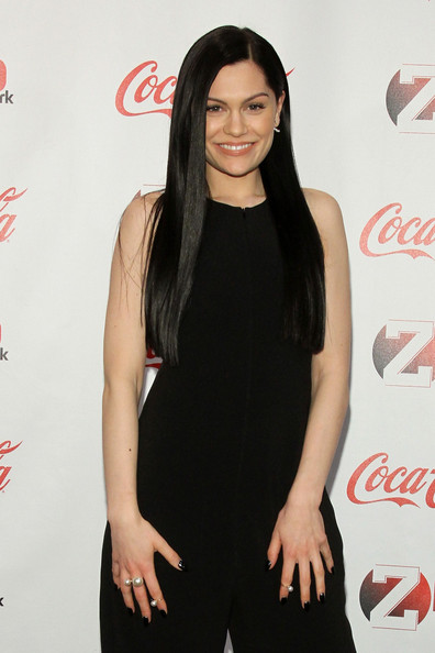 Backstage at the Z100 & Coca-Cola All Access Lounge  [coca-cola,cola,hairstyle,long hair,drink,carbonated soft drinks,soft drink,dress,premiere,little black dress,jessie j,all access lounge,new york city,hammerstein ballroom,z100,coca-cola,jingle ball 2014,pre-show]